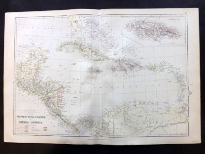 Blackie & Weller 1882 Antique Map West India Islands & Central America Caribbean.